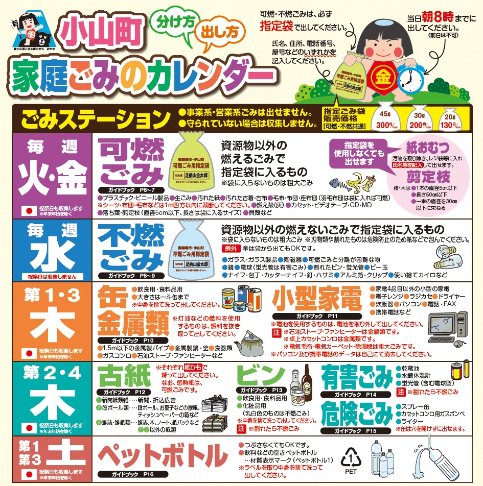 小山町ごみ回収カレンダー